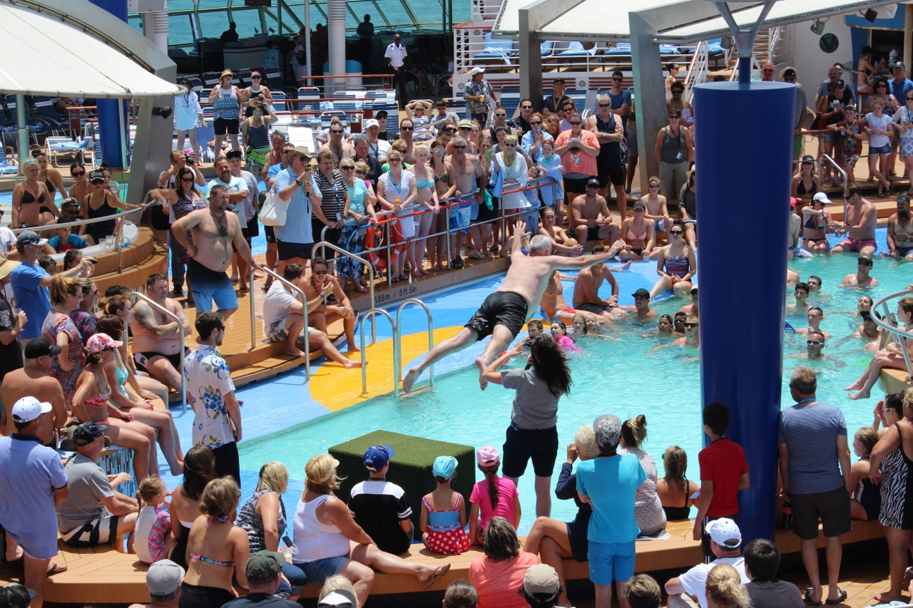 Belly flop contest is a fun activity on Explorer of the Seas.