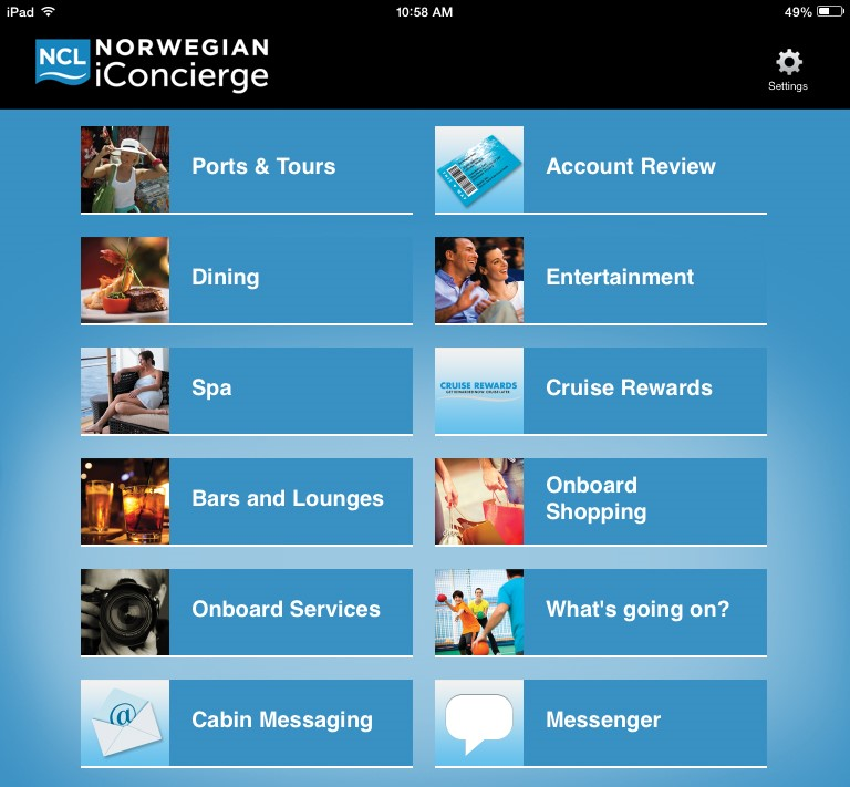 All sorts of functionality is available through the Norwegian Cruise Line iConcierge app.