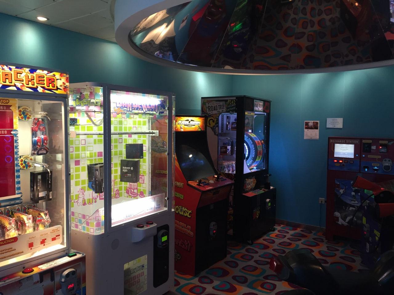Kids and teens can enjoy a video arcade.