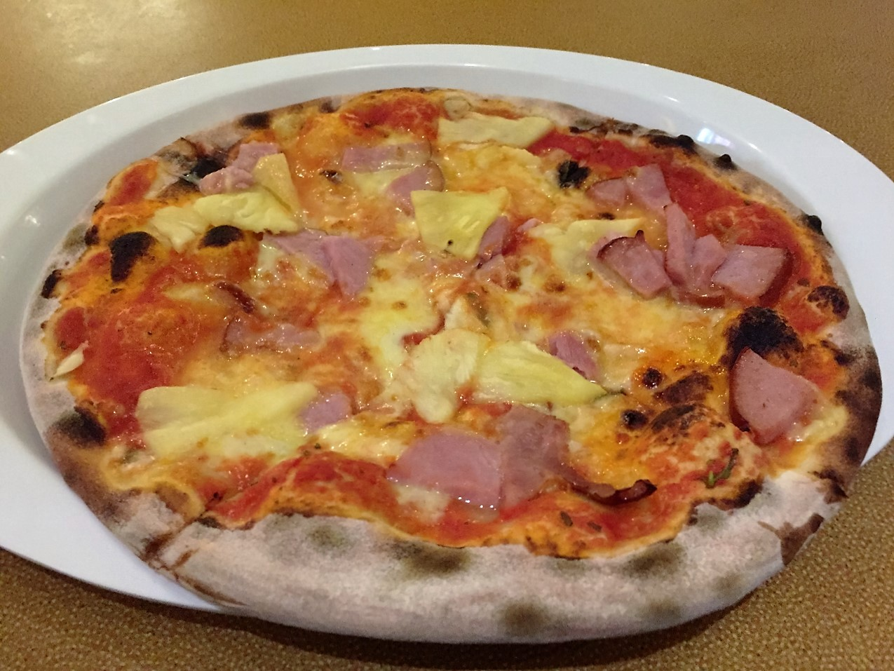 Our delicious Hawaiian base from Pizza Pirate on Carnival Spirit.