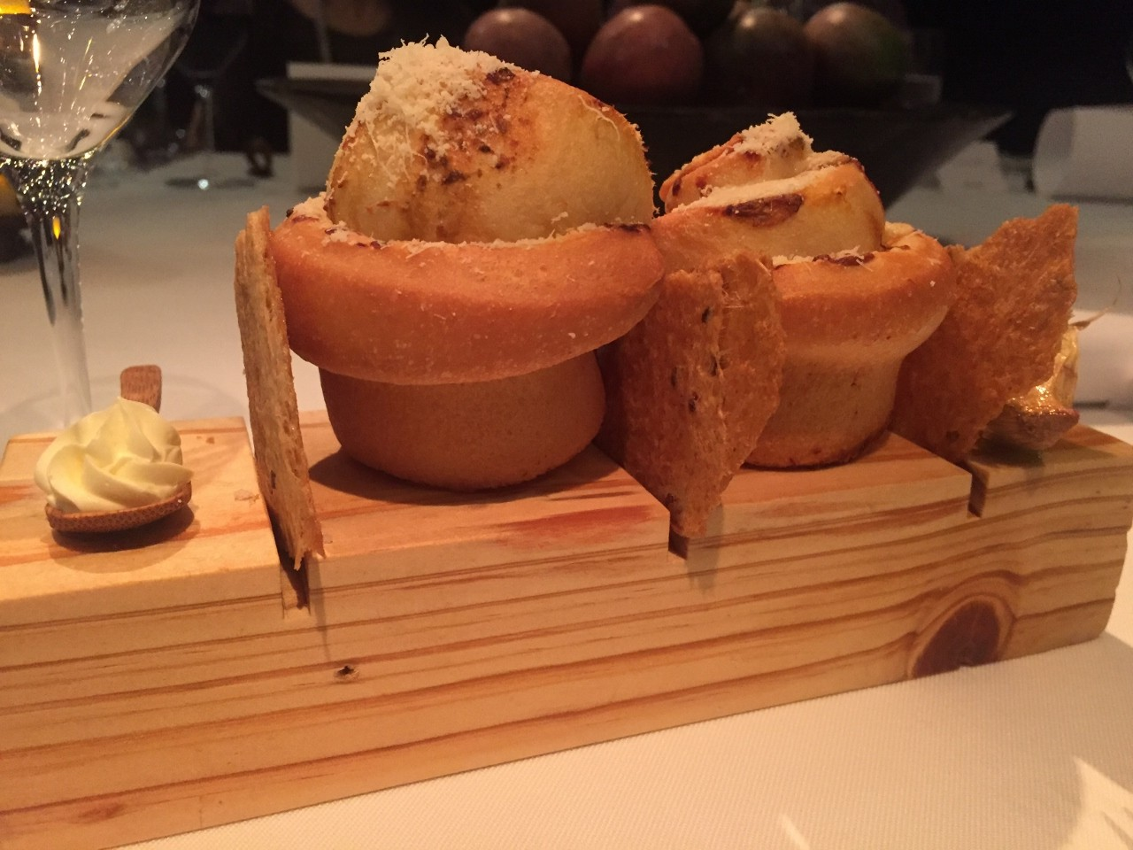 The Chef's Table on Carnival Spirit begins with some bread rolls.
