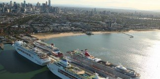 Two P&O Cruises ships and one Carnival ships all berthed together in Melbourne.