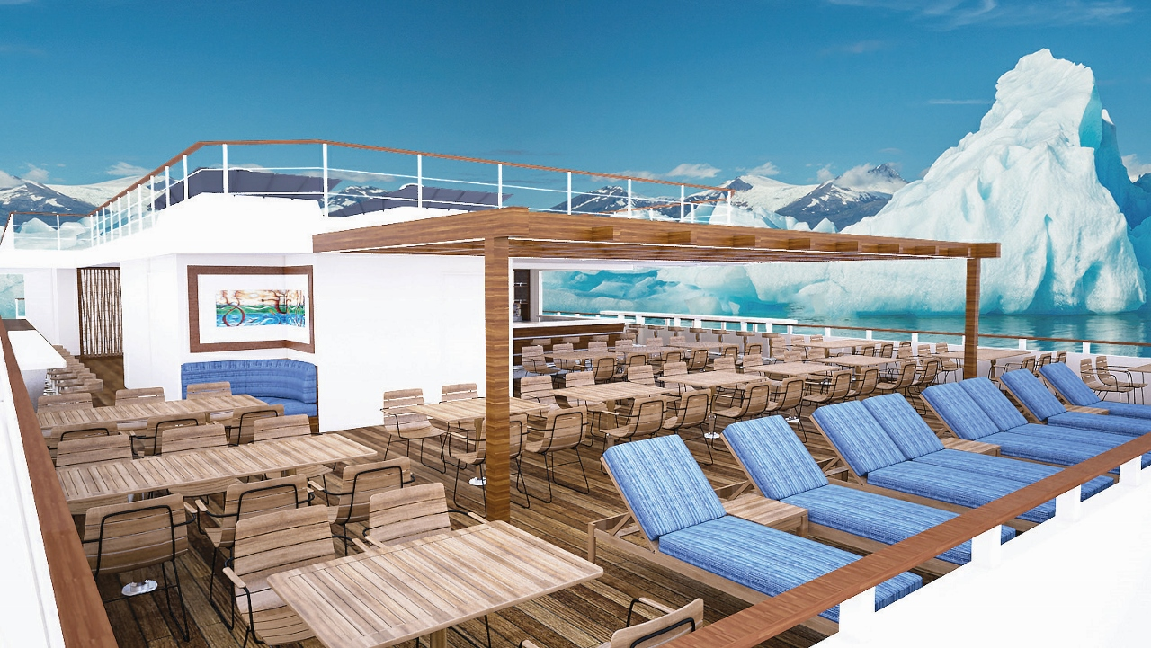 The upper decks, including the Bridge, will have a range of comforts to encourage guests to visit.