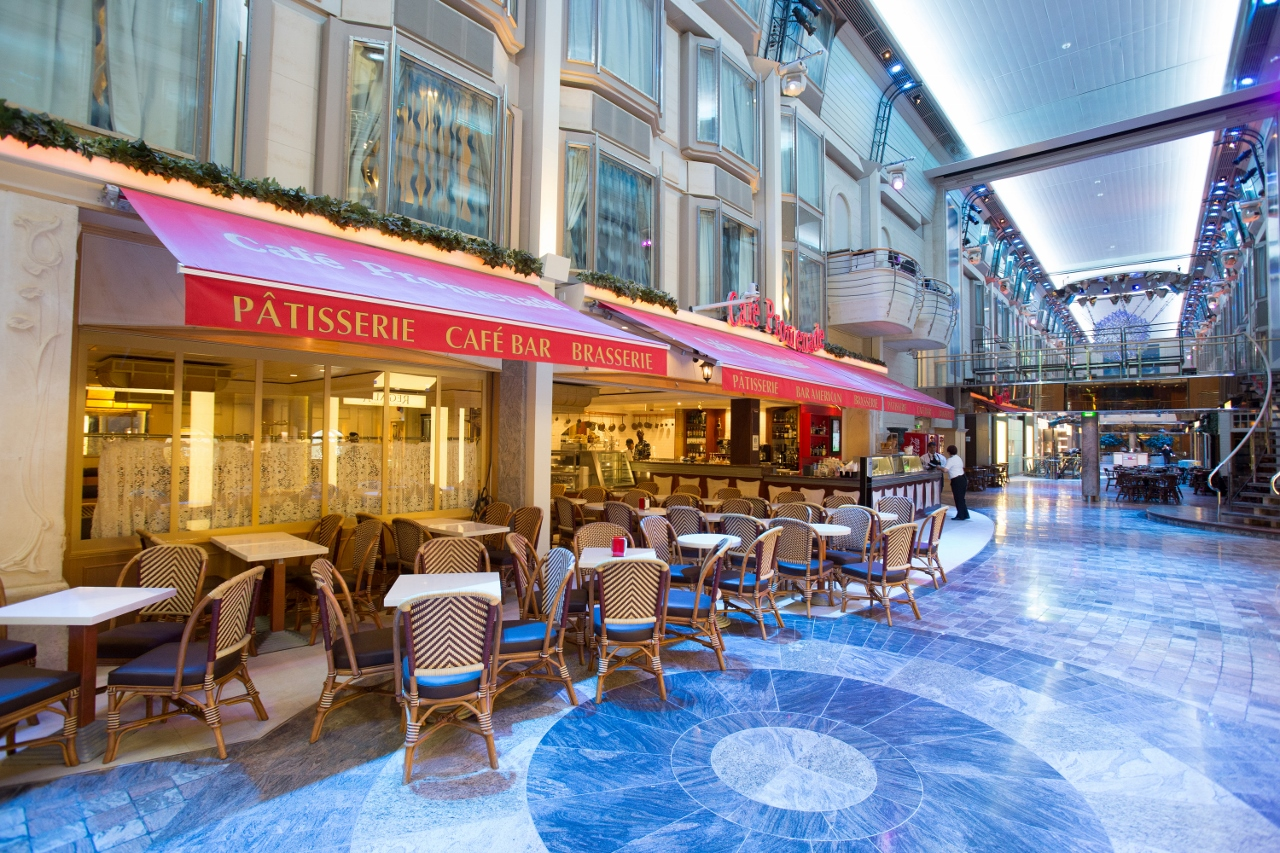 The newly revitalised Explorer of the Seas features an expansive Royal Promenade through the centre of the ship.