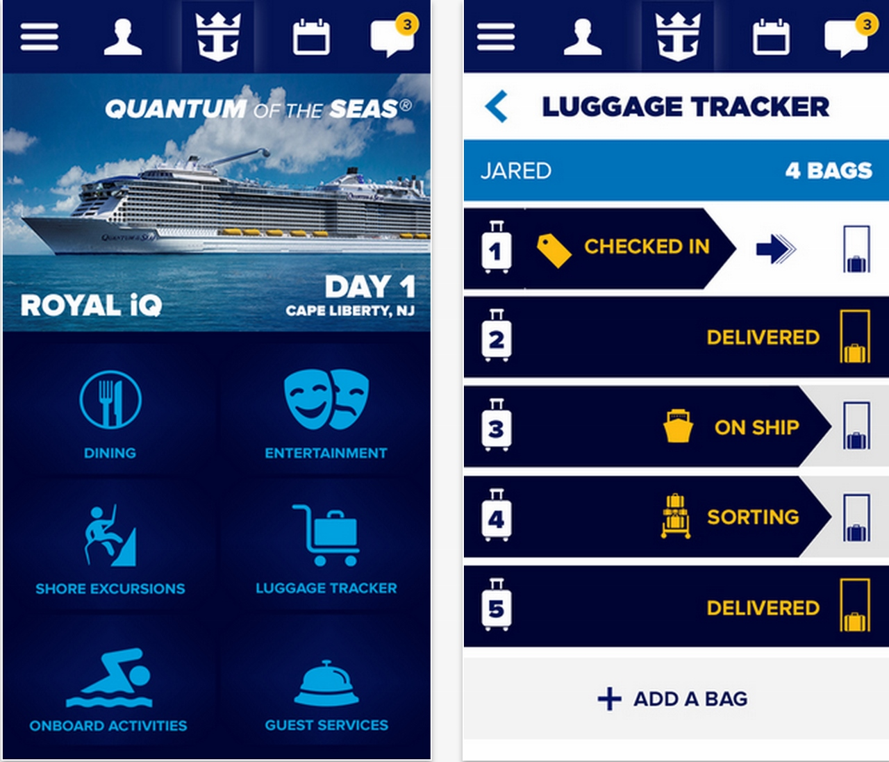 The Royal IQ app is only available on limited Royal Caribbean ships at present.