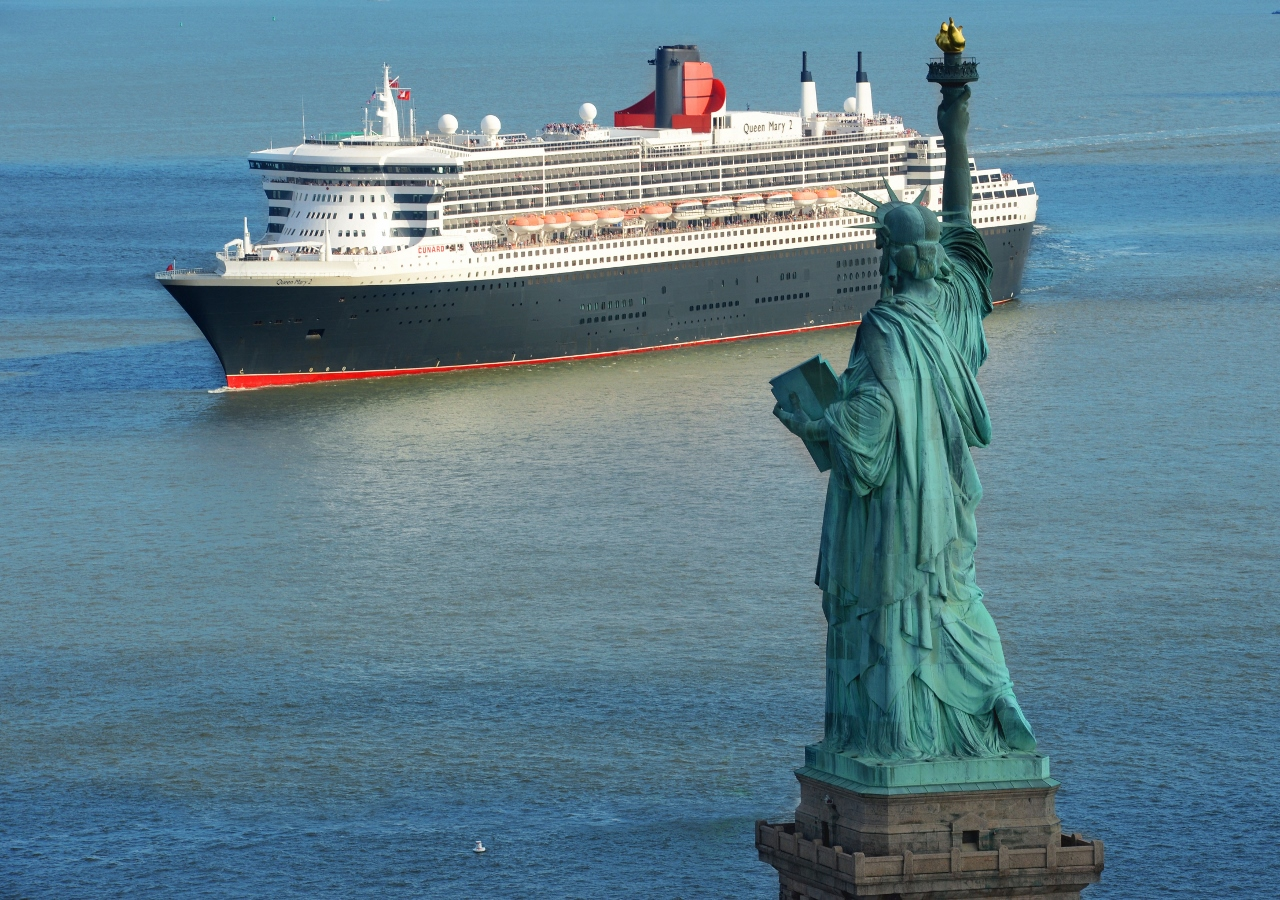 Cunard guests see the Statue of Liberty at one end of every Trans-Atlantic voyage.