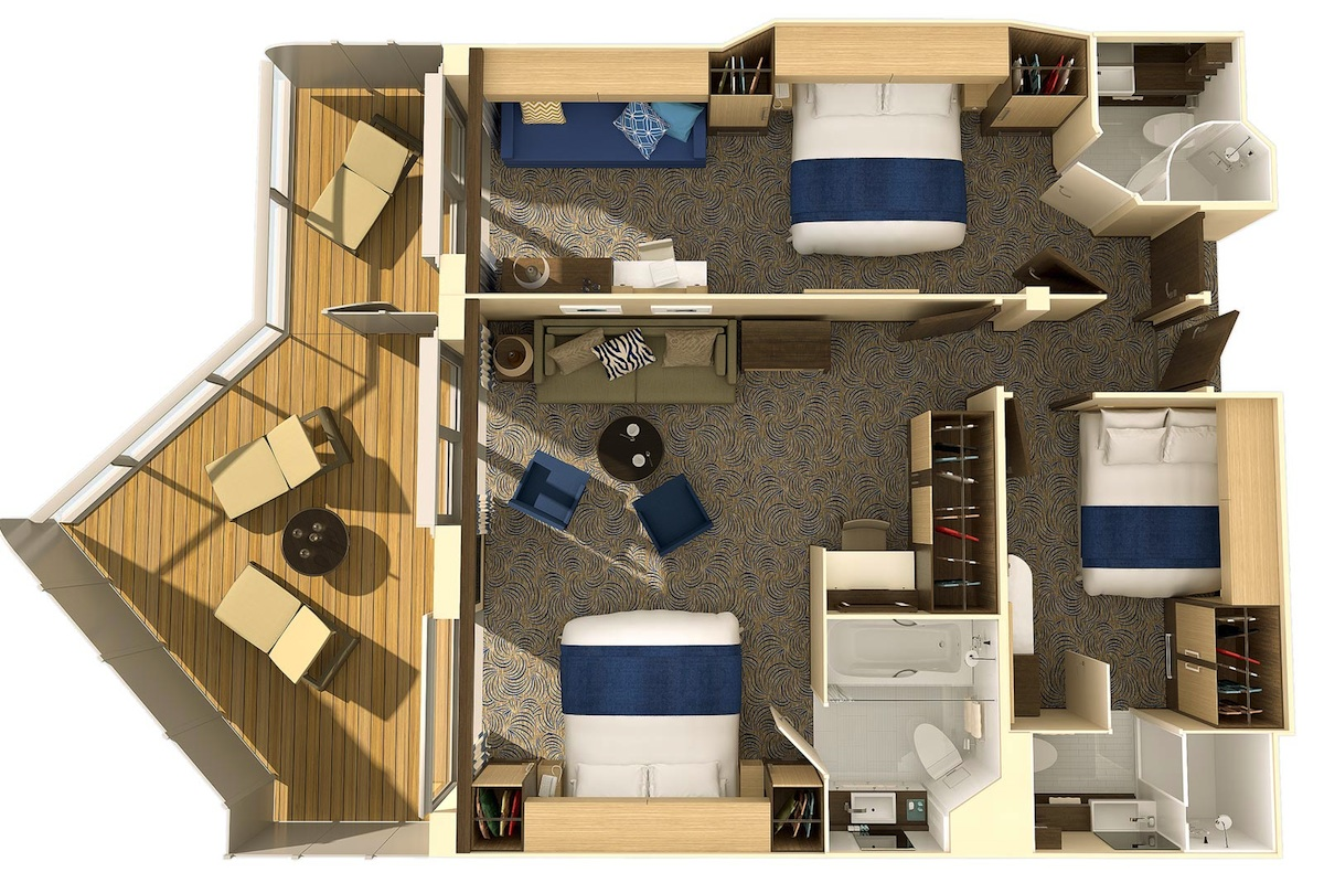 Royal Caribbean offers the most choice when it comes to interconnecting cabins.