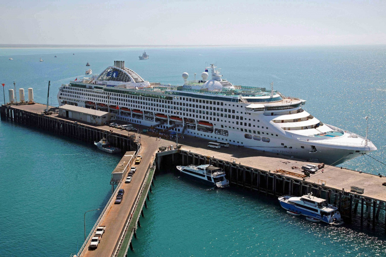 Princess Cruises sails slowly through the Kimberley region in Western Australia.