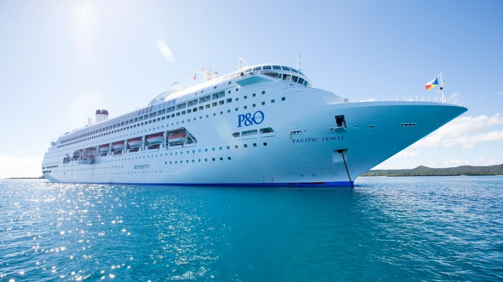 Pacific Jewel at anchor in the South Pacific.