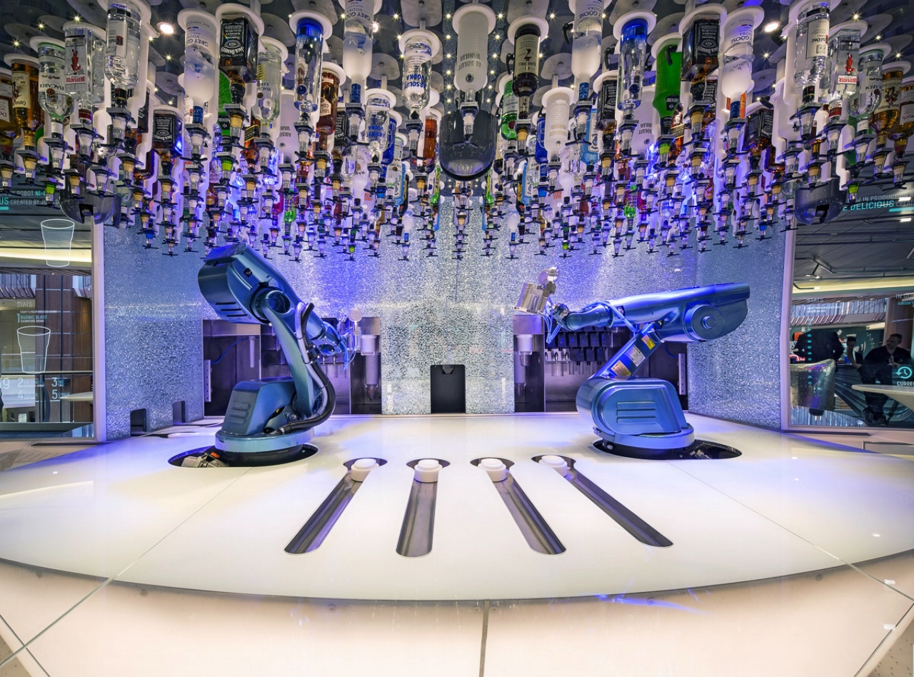 Ovation of the Seas features the Bionic Bar, which is as much entertainment as it is service of drinks.
