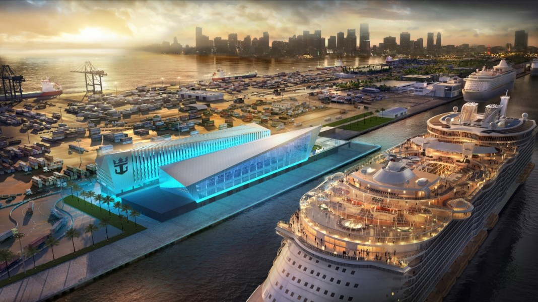 A rendering of the upcoming Miami terminal for Royal Caribbean.