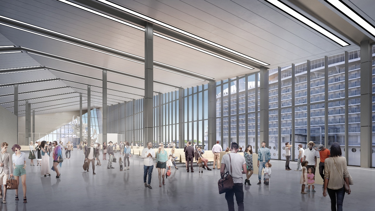 A rendering of how the interior of the new Royal Caribbean terminal in Miami will look.