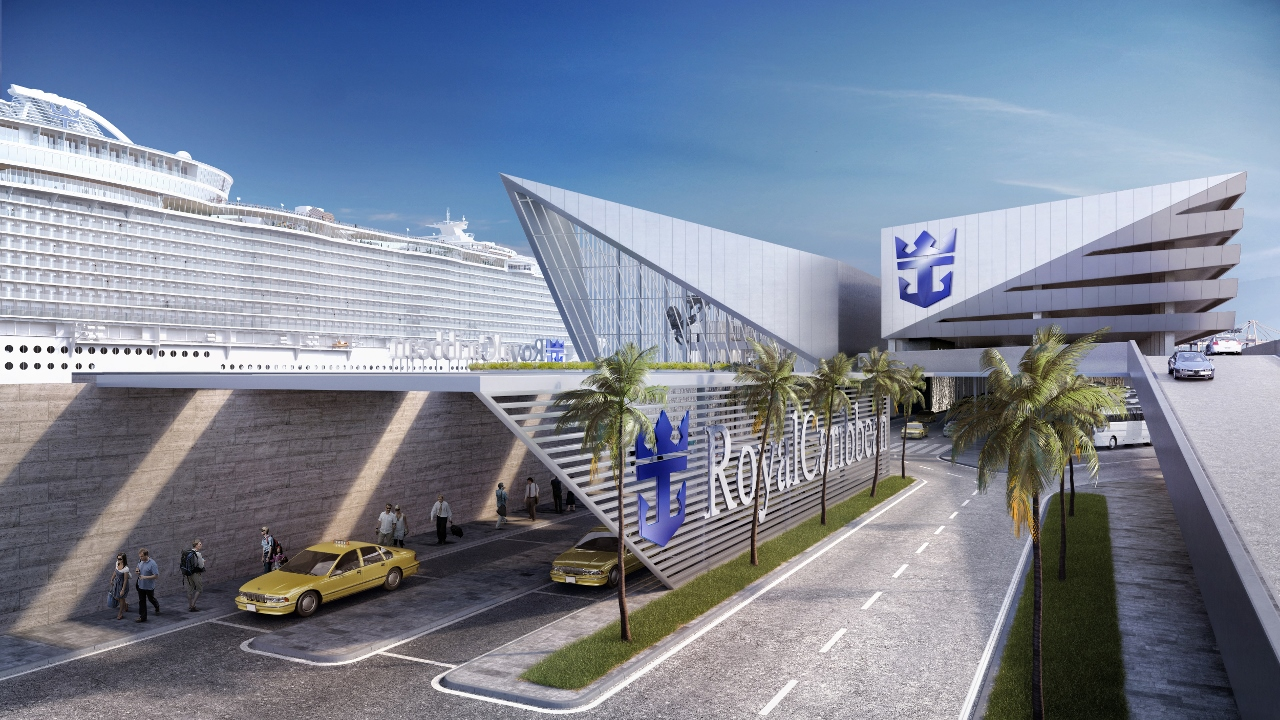 Royal Caribbean's new Miami terminal will feature an M-shape, with the roadway running underneath.