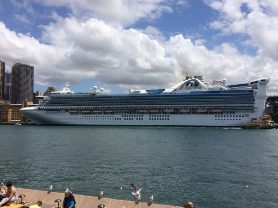 Golden Princess pulls into Sydney Harbour on one of its scheduled visits.