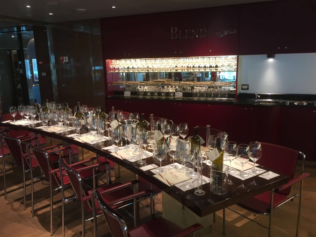 The table set-up for Blend on Holland America Line's MS Koningsdam - no shortage of wine glasses.