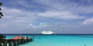 P&O Cruises' Pacific Jewel anchored off the coast of Panasesa Island in Papua New Guinea.