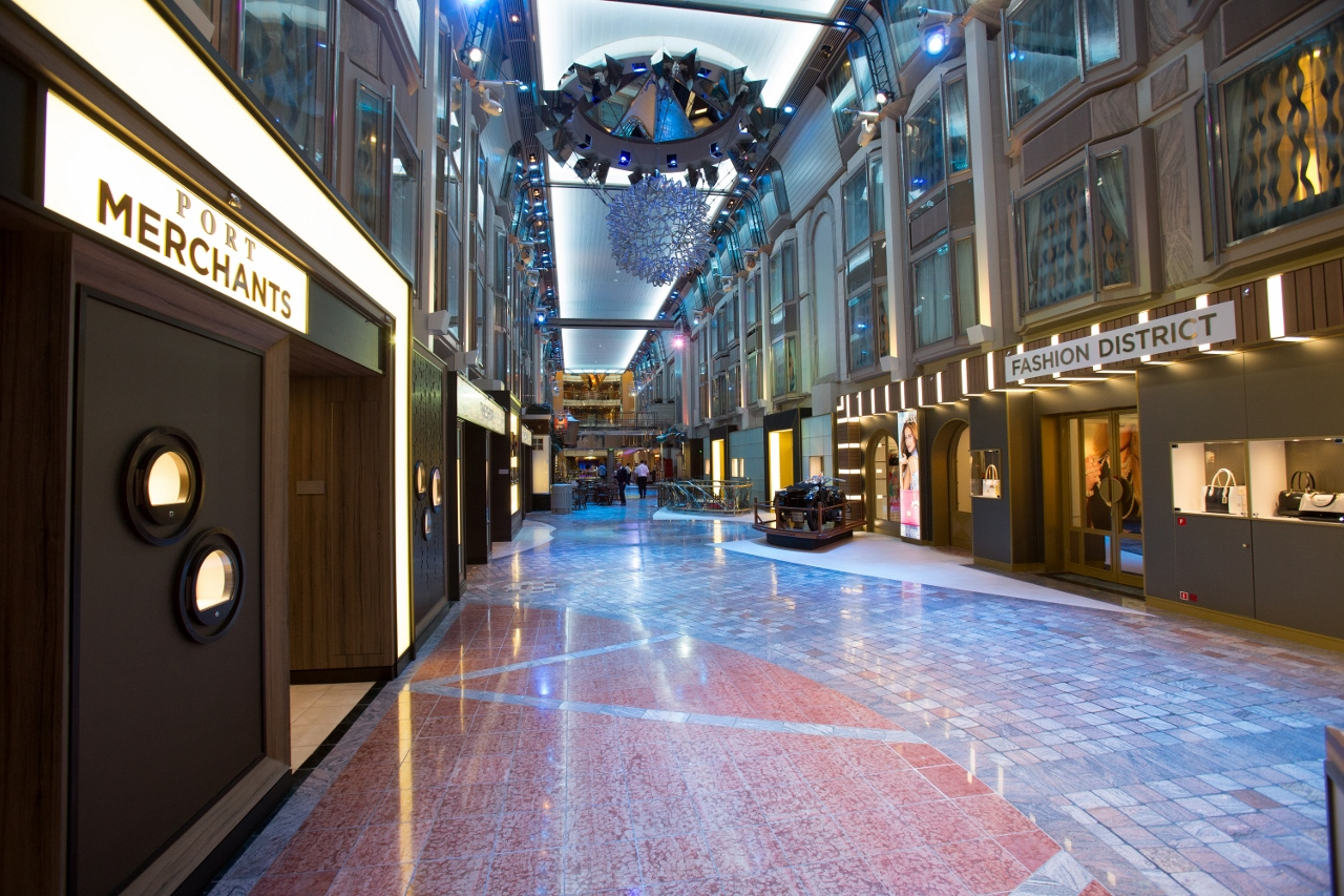 The Royal Promenade on Explorer of the Seas features dining and retail outlets.