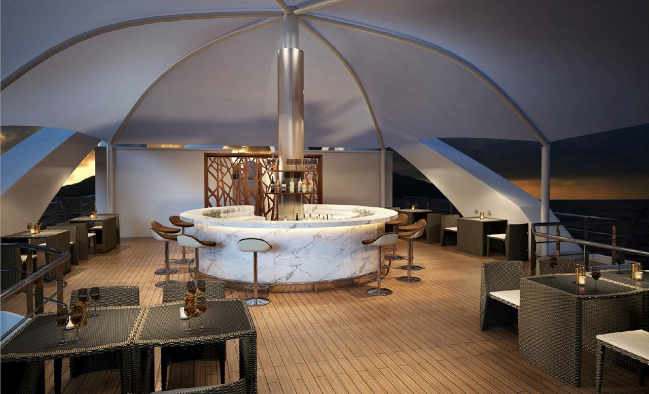 Coral Discoverer will install this Sun Deck Bar on the top deck of Coral Discoverer.