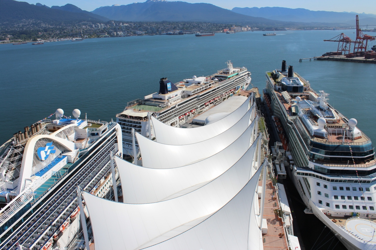 Up to four ships can fit in at Vancouver Port each day - it's rarely seen but it's possible.