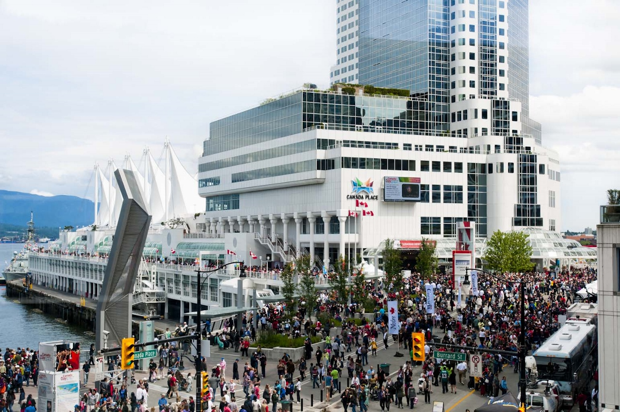 A great central hub for tourists heading on daily sightseeing trip in Vancouver is Canada Place.