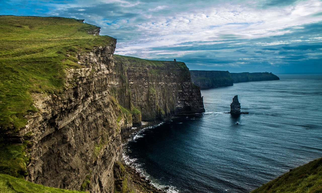 Lindblad Expeditions guests can see the Cliffs of Mohr from the sea during their travels in the British Isles.