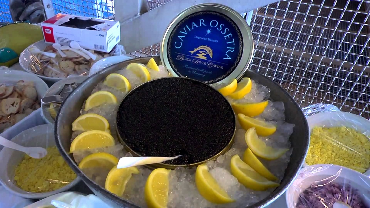 Caviar in the Surf on Seabourn serves up delicious platters of caviar as well as a sumptuous BBQ.