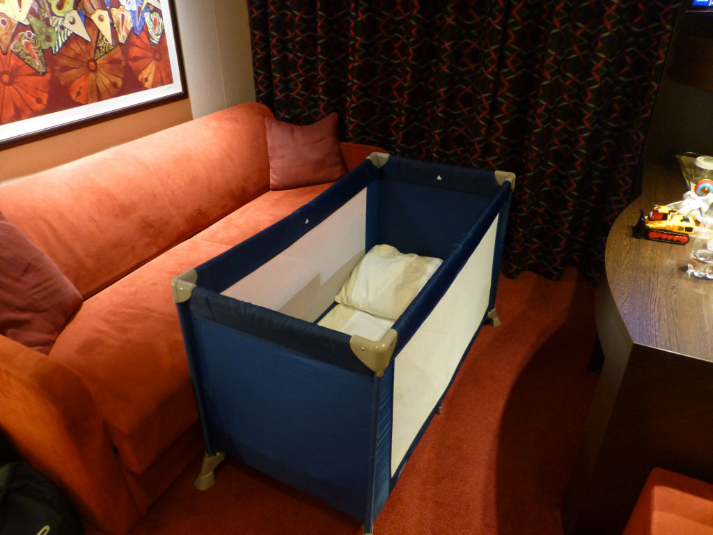Baby products brand Chicco supplies cribs and other items free of charge to MSC Cruises as needed by families.