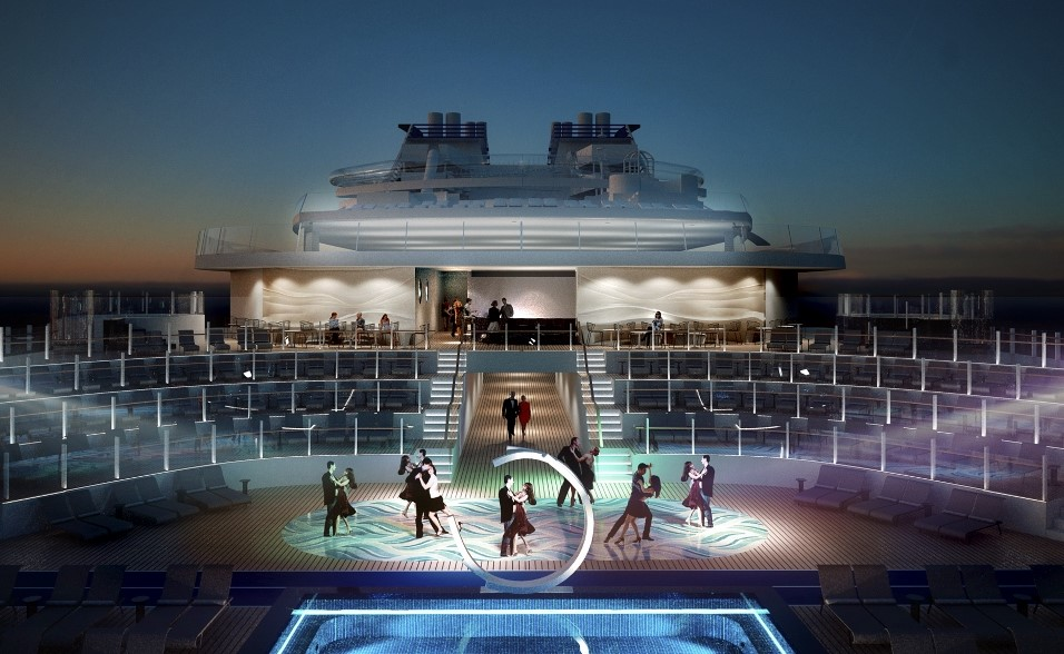 Cruisers seeking something different to do by night can party under the stars on Meraviglia's rear deck.