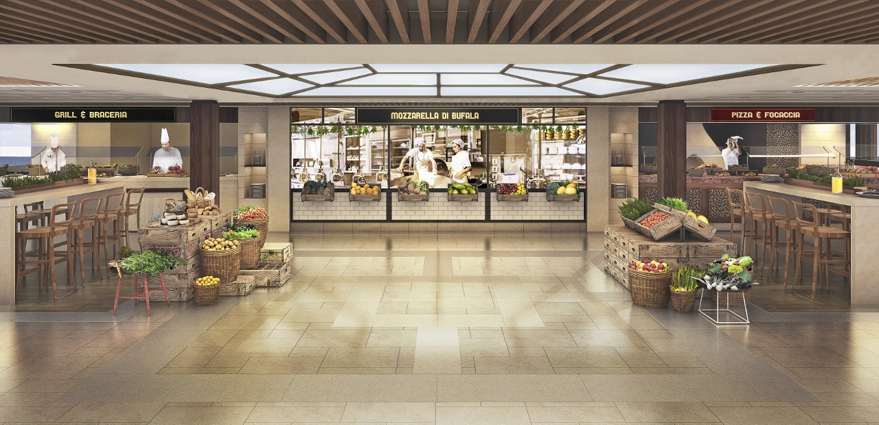 The buffet on MSC Meraviglia will reflect something of an international food market.