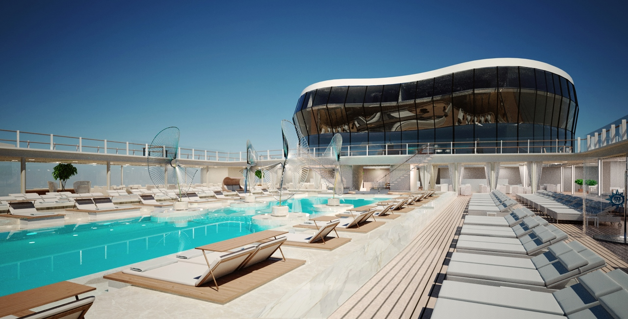 On the top deck of MSC Meraviglia, the main pool can be overlooked from a bustling nightspot.