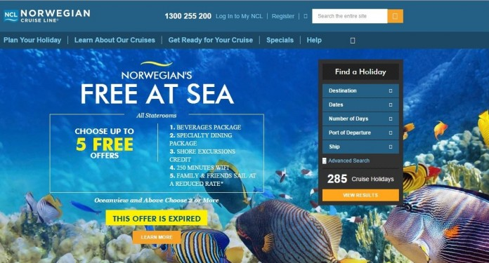 The home page for the new Australian version of the Norwegian Cruise Line website.
