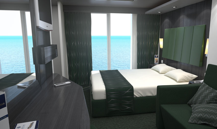 A rendering of a balcony stateroom on MSC Meraviglia.