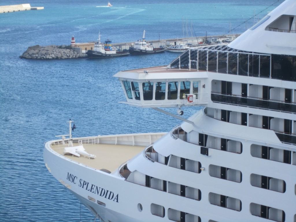 MSC Splendida leaving the port of Palermo.