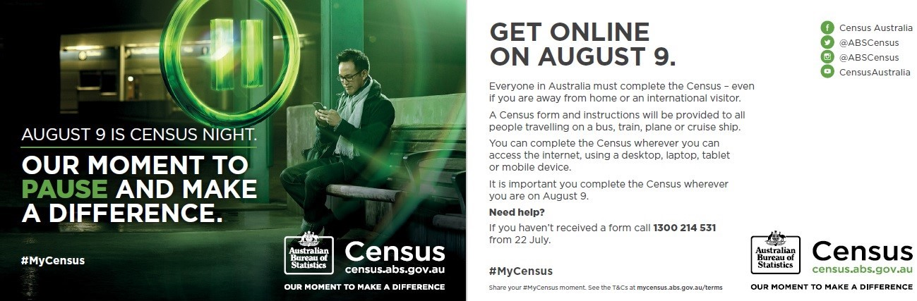 Census posters will be at cruise ports and airports around the country on August 9.