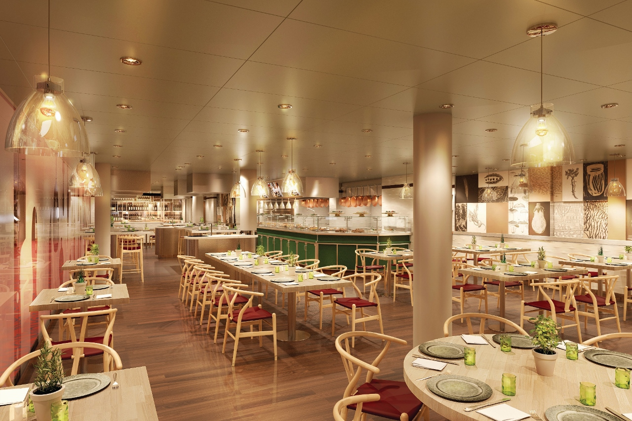 Unique to MS Koningsdam, the Culinary Arts Centre is also an evening dining venue.