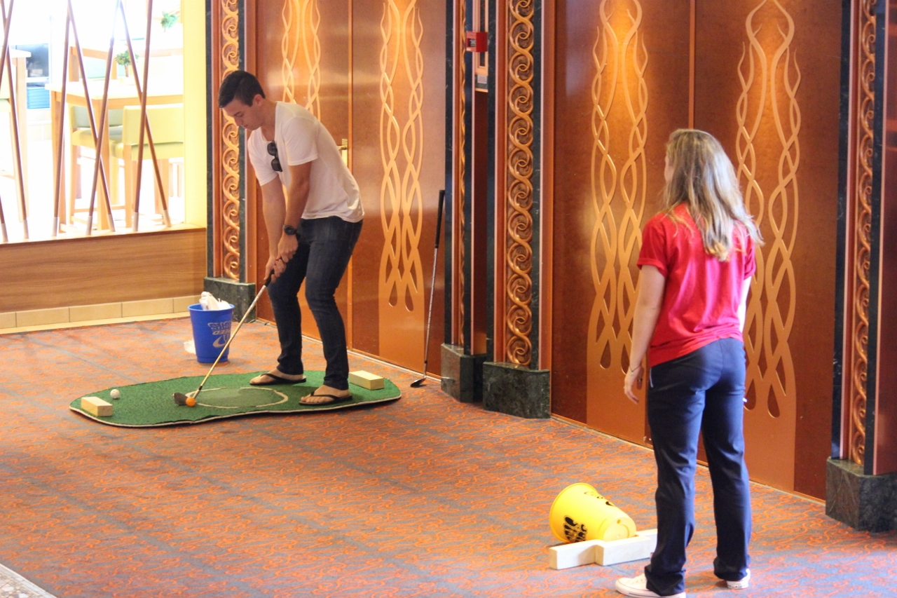 A step up from putting, you can test the accuracy of your short game on Carnival Spirit and win a novelty prize.