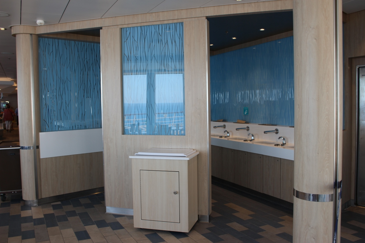 Harmony of the Seas insists guests entering the buffet from the pool area pass through this area to wash their hands.