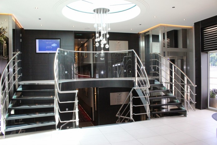 The lobby of the AmaBella APT river cruise ship sailing in Europe