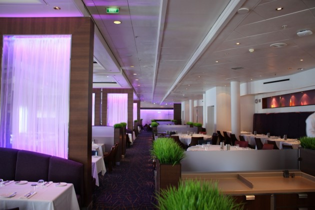 The main dining room carries an elegant feel yet serves dishes comfortable and contemporary.