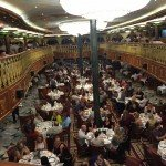 A look at the two floors of the Empire Dining Room on Carnival Spirit.