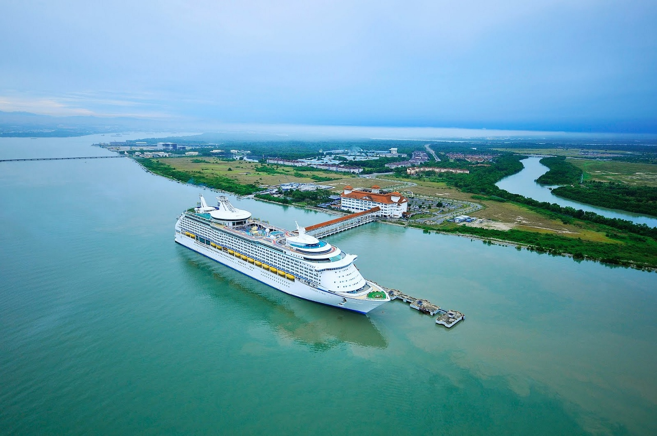 Royal Caribbean's Voyager of the Seas departing from Port Klang in Malaysia.
