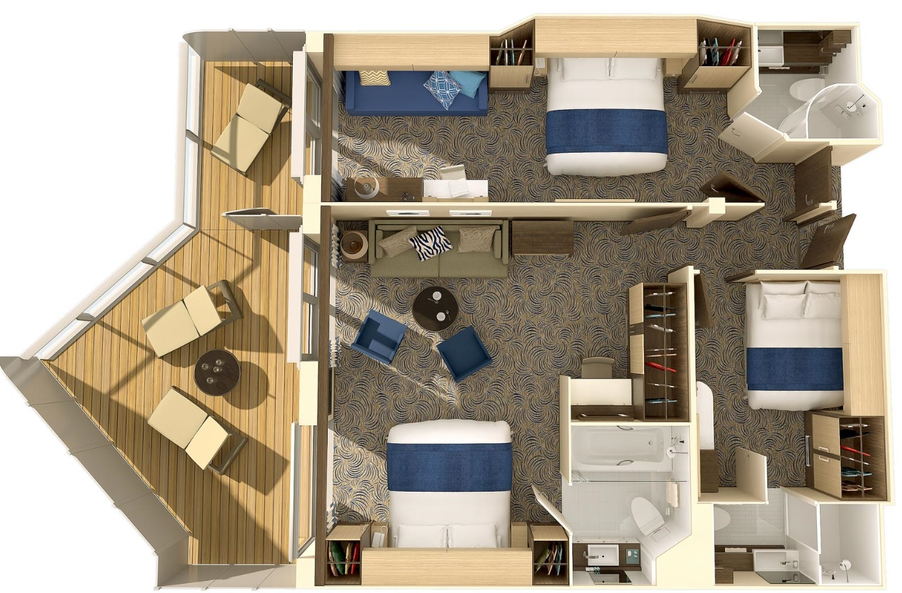 Interconnected family cabins on Ovation of the Seas, make cruising more affordable for groups.