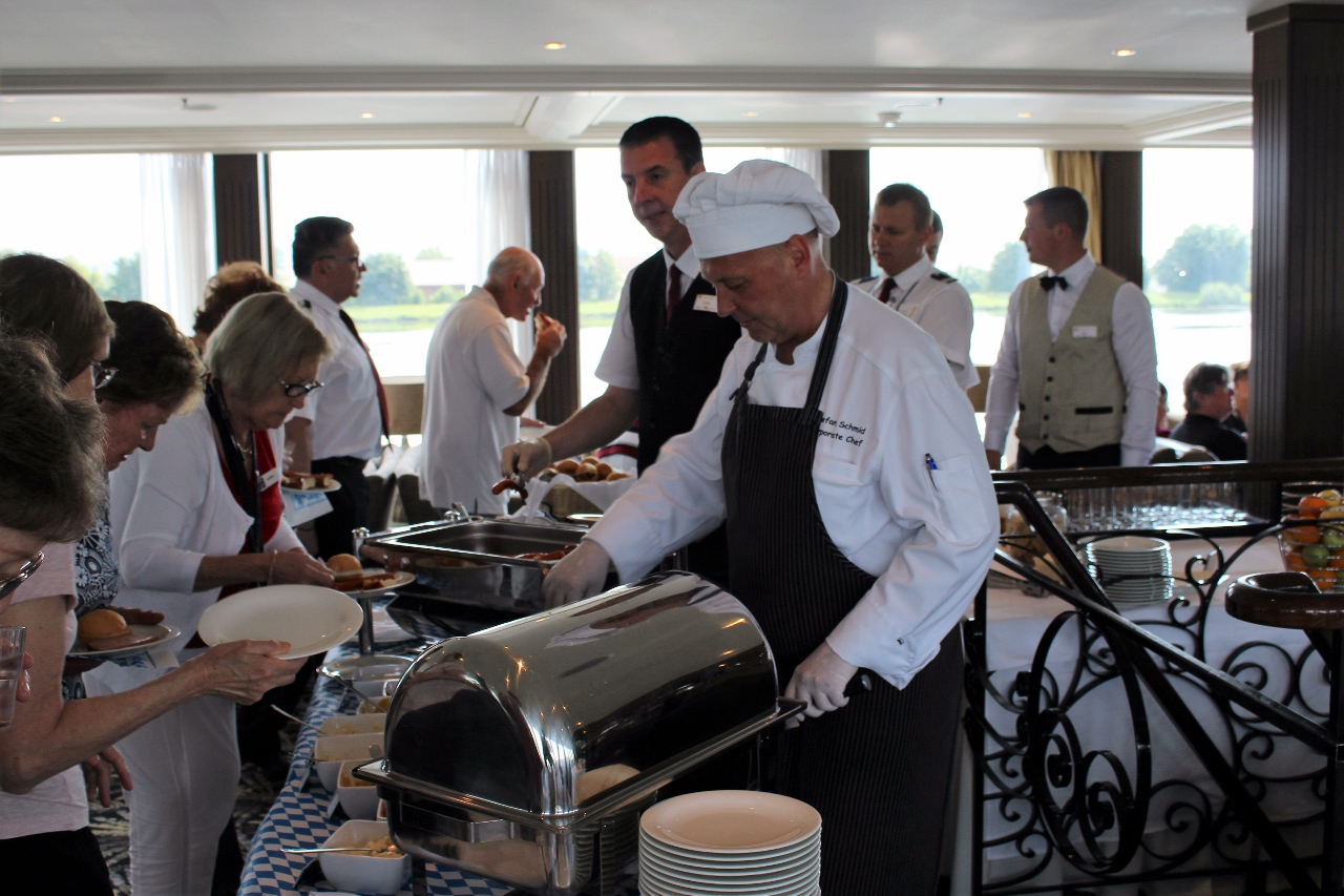 If you don't feel like a full sit-down meal on your APT river cruise, a light buffet is also prepared each day in the main lounge.