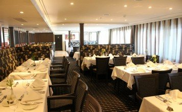 APT river cruise ship AmaBella features the Main Dining Room where all meals are served.
