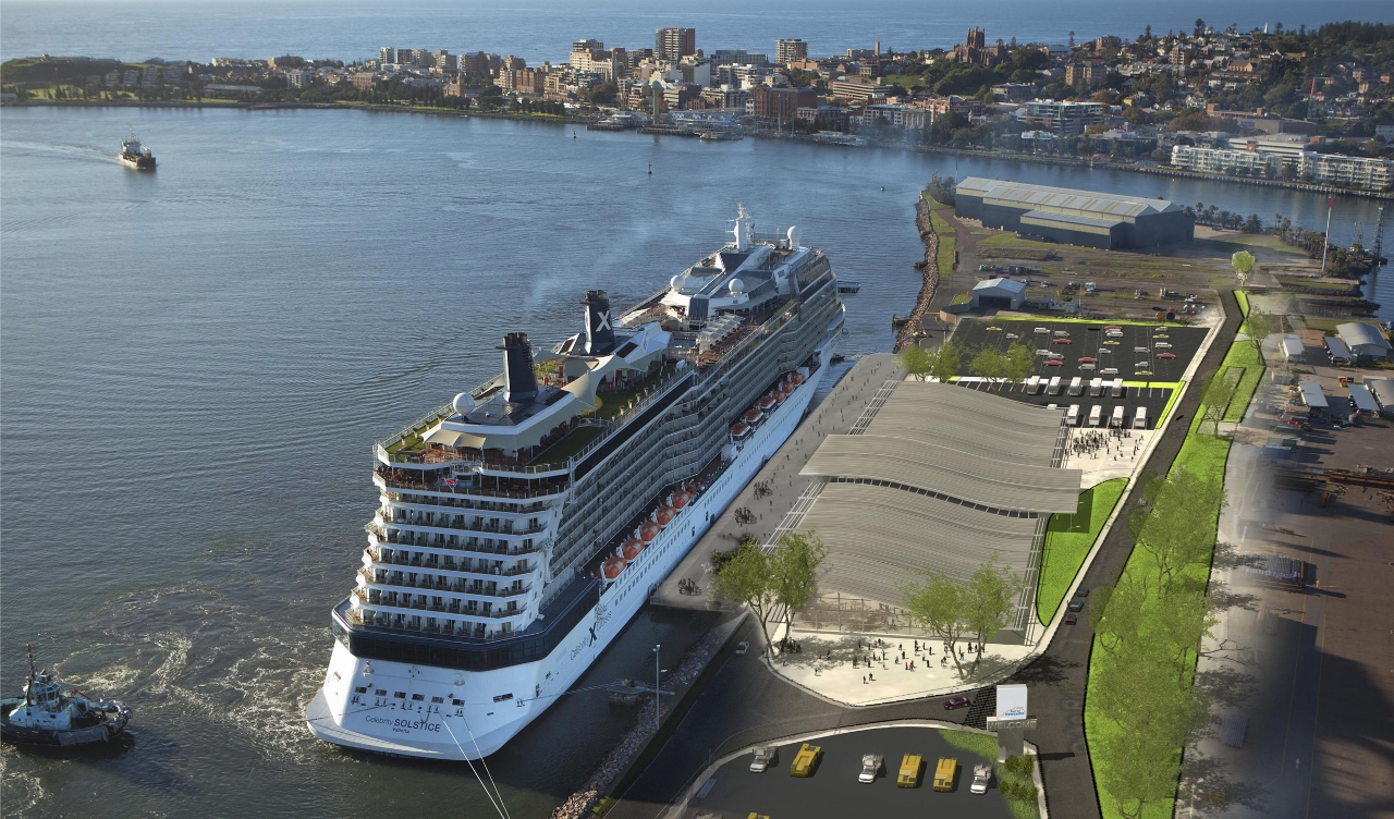 A merged visualisation showing Celebrity Solstice berthed at what will become the Newcastle Cruise Terminal.