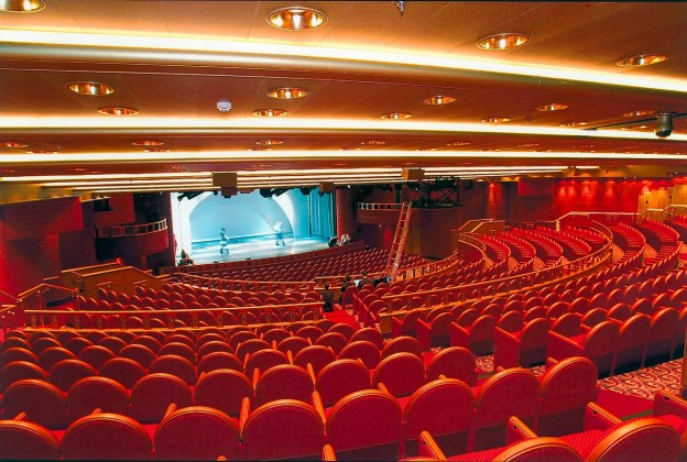 The main theatre on Princess Cruises' Golden Princess features nightly shows and first-run feature films.