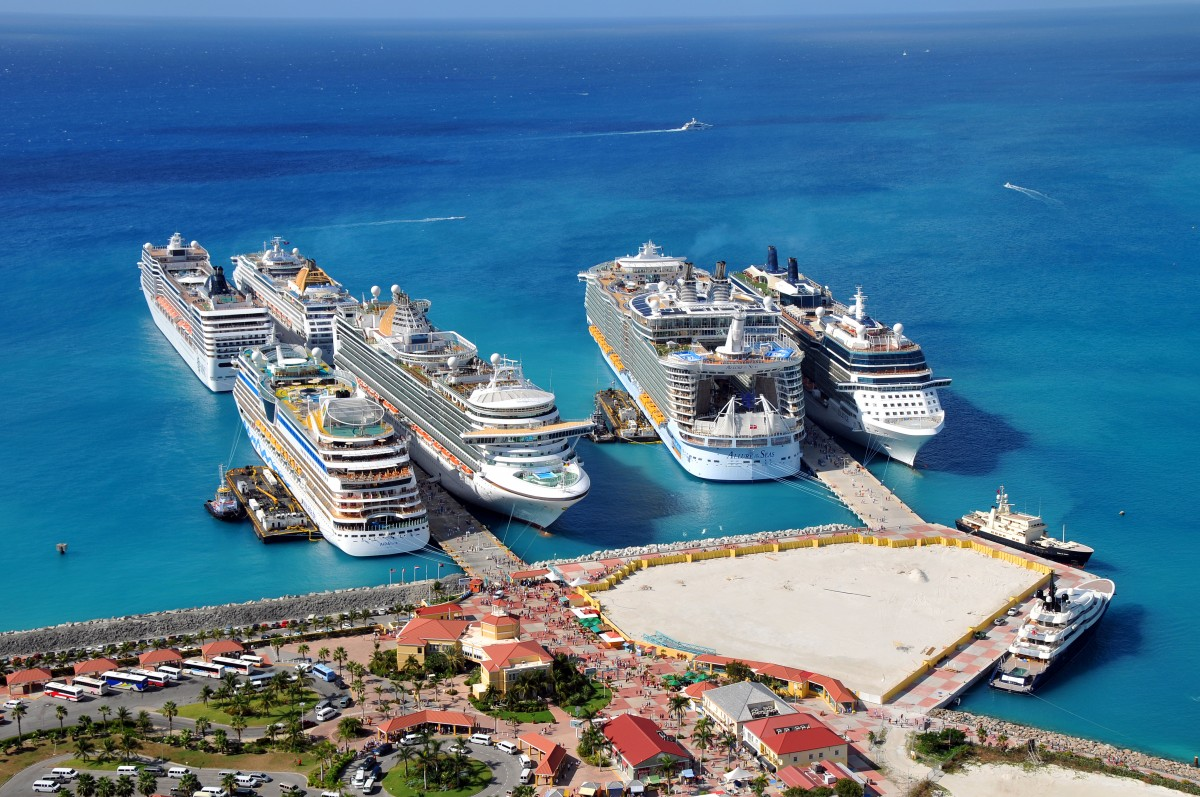 The popularity of cruising the Eastern Caribbean can be seen in this shot of St. Maarten harbour where eight large cruise ships can dock at once!
