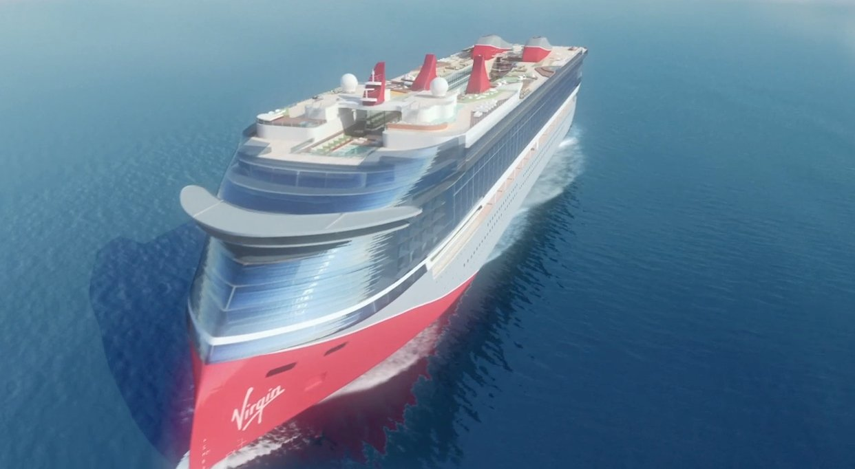 An early rendering released last year of how a Virgin Voyages ship might look. The final product is likely to be different.