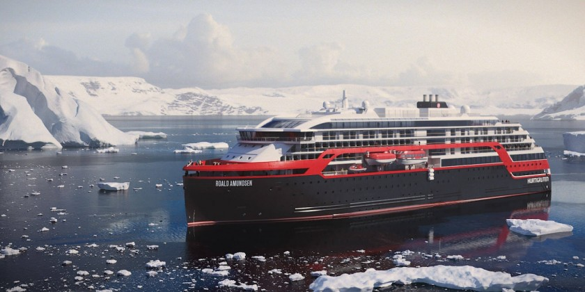 A rendering of the new hybrid ships coming to the Hurtigruten fleet.