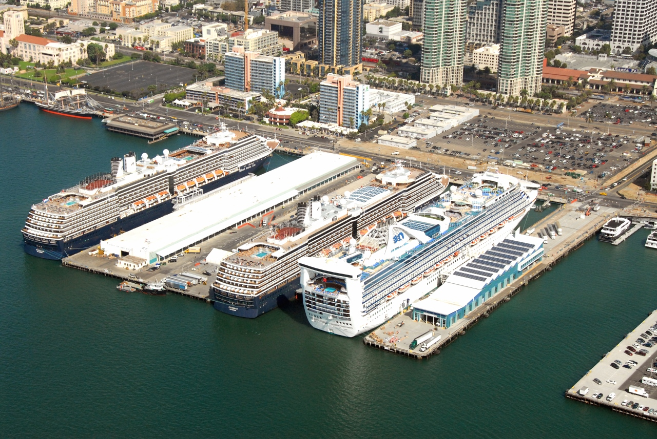 Cruise ships dock together in the Port of San Diego in the USA